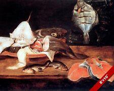 VARIETY FISH FILETS STILL LIFE W CAT CRAVING PAINTING FOOD ART REAL CANVAS PRINT