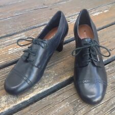 Etienne Aigner Ravine Black Oxford Brogue Toe Cap Shoes 7 Leather Heels Womens