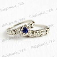 14k White Gold Over 0.80 Ct Vintage Sapphire & Diamond Wedding Bridal Set Rings