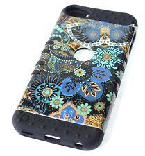 For iPod Touch 5th 6th Gen -HYBRID HARD&SOFT ARMOR CASE BLUE BLACK TRIBAL FLOWER