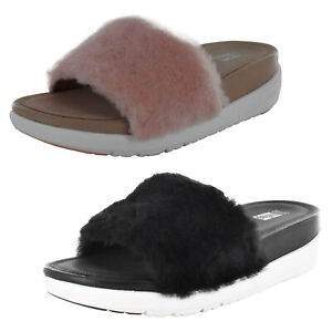 Fitflop Womens Loosh Luxe Slide Shearling Sandal Shoes