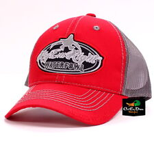 RIG'EM RIGHT WATERFOWL RED AND GREY TRUCKER MESH HAT CAP LOGO