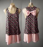 Black Pink Ditsy Rose Floral Print Bow Back 90s Long Tank Top 236 mv Tunic M L