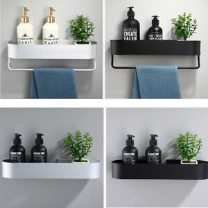 New Wall Mounted Shower Caddy Storage Shelf Towel Bar Bathroom Accessories