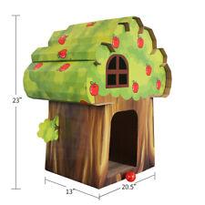 furpawz Cat House with Catnip Corrugated Cardboard Scratch Pad (Treehouse)