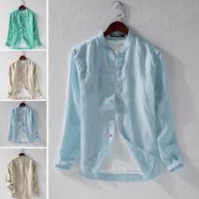 Men's Linen Long Sleeve Casual Solid Dress Shirts Formal Smart Top Blouse Shirts