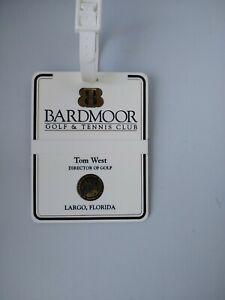 Vintage Plastic Bag Tag Bardmoor Golf and Tennis Club, Largo, FL with Strap