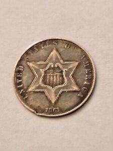 Rare 1861 US Silver 3 Cent Coin