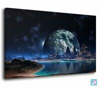 Moonrise Over A Fantasy Planet Deep Space Art Canvas Print Wall Art Picture