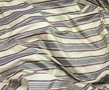 "Silk Taffeta Fabric - Cream Blue & Peach Stripe 54"" By The Yard"