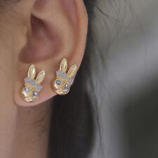 Fashion Gold Plated Lovely Bunny Rabbit Crystal Rhinestone Stud Earrings