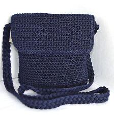 SAK Womens or Girls Handmade Crochet Small Shoulder Bag Blue Baguette Flap Purse