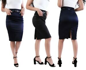 Women satin skirt stretch midi pencil in black blue with pockets & belt 8-18