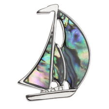 Blue Green Abalone / Paua Shell Sailing Boat Brooch