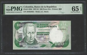 Colombia 200 Pesos 1-11-1989 P429d Uncirculated Graded 65