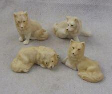 Antique Set of bisque cake decorations Dogs or Husky Pack Rare Porcelain
