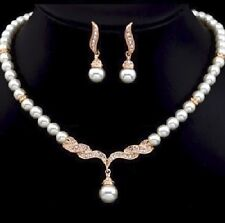 White Ivory Pearls Wedding Bridal Bridesmaid Prom Rhinestone Jewelry Set J3