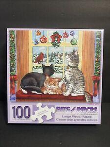 "100 Piece Parker Fulton Puzzle - Window Cats - Large Format Bits 15""x19"" - NEW!"