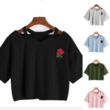 Sexy Women Floral Embroidery T Shirt Preppy Short Sleeve Casual Crop Top Blouse