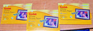 "KODAK ULTIMA PICTURE PAPER - 3 pkgs. Total of 75 sheets - High Gloss! 4"" x 6"""