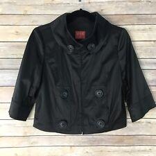 Elle Womens S Black Sateen Jacket Short Sleeve Hook Closure Evening Party B64