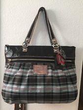 Coach Poppy Plaid Shoulder Tote Handbag