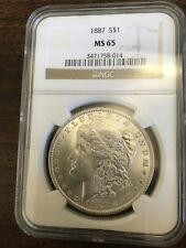 1887 $1 MORGAN SILVER DOLLAR NGC MS65