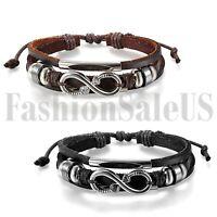 Mens Women Love Infinity Symbol Leather Bracelet Strap Charm Promise Cuff Bangle