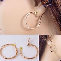 """#E121 NON-PIERCED CLIP ON 0.8"""",1.2""""or 1.35"""" SMALL Hoop EARRINGS Rose Gold Plated"""