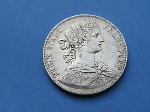 1 Taler Frankfurt 1860 Vereinstaler  Silber 18,44 Gramm Original  SS