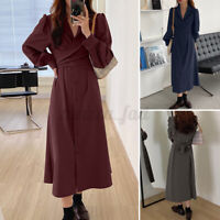 Women Belted Long Sleeve V Neck Tunic Maxi Dress Warp Front V Neck Shirt Dresses