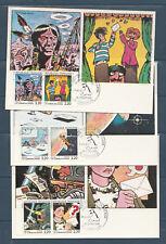 carte 1er jour  les 6 cartes 12 timbres  la  communication 16 Angoulème   1988