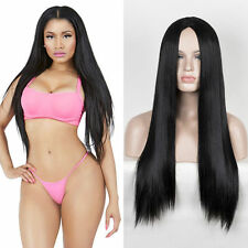 Nicki Minaj middle part Black long sleek straight hair wig fashion women's wigs