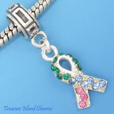 THYROID CANCER CRYSTAL AWARENESS RIBBON .925 Sterling Silver EUROPEAN Bead Charm