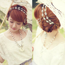 Sweet Charming Metallic Lady Crystal Flower Elastic Hair Band Lovely Headband