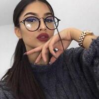 Reading Women Round Glasses Eyeglasses Eyewear 0 Lens Clear Retro Frame Fashion