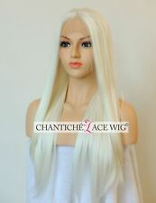 Hot Women's White Blonde Synthetic Lace Front Wigs Long Straight Heat Resistant