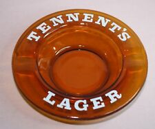 Collectible Beer Tennent'S Lager Ashtray Amber Glass -