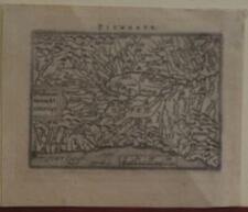 PIEDMONT PIEMONTE ITALY 1598 ORTELIUS RARE ANTIQUE MINIATURE MAP ITALIAN EDITION