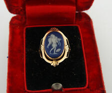 Antique 10K Yellow Gold Blue Cameo Ring w/ Box Wedgewood Jasperware