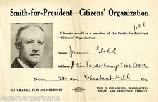 1928 Al Smith for President Citizens' Organization Membership Certificate (4964)