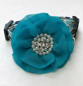Song Bird Blue Floral Dog Collar Size XS-L by Doogie Couture