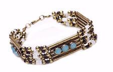 BEADED BURNISH dorato bracciale Embedded azzurro perle HUED (zx55)