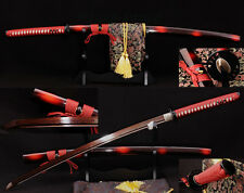 JAPANESE KATANA KILL BILL SWORD Black&Red Folded Steel FULL TANG Blade