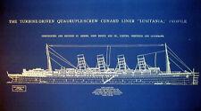 "Ships Plan RMS Lusitania Oceanliner Cunard Line 1911 Blueprint 26""x35"" (015)"