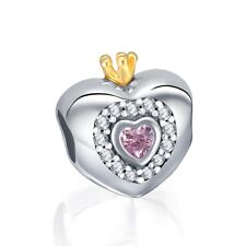 Pink Princess Heart Charm Bead CZ Genuine Sterling Silver 925 791375PCZ UK NEW