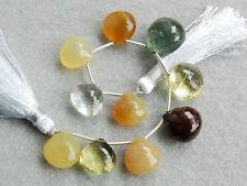 93ctw Moss Aquamarine Crystal Mookaite Lemon Quartz Yellow Opal Heart Beads
