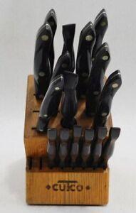 Cutco 18 Knife Block 16 Knives Honey Oak Wood Block