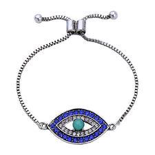 Big Eye Blue Sapphire Crystal Turquoise Bracelet Easy Adjustable Silver Chain