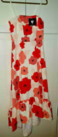 BNWT White Red Poppy Strappy Midi Spring Summer Frill Hem Dress Adj Strap UK 10